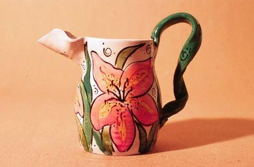 majolica pottery Daylily Pitcher