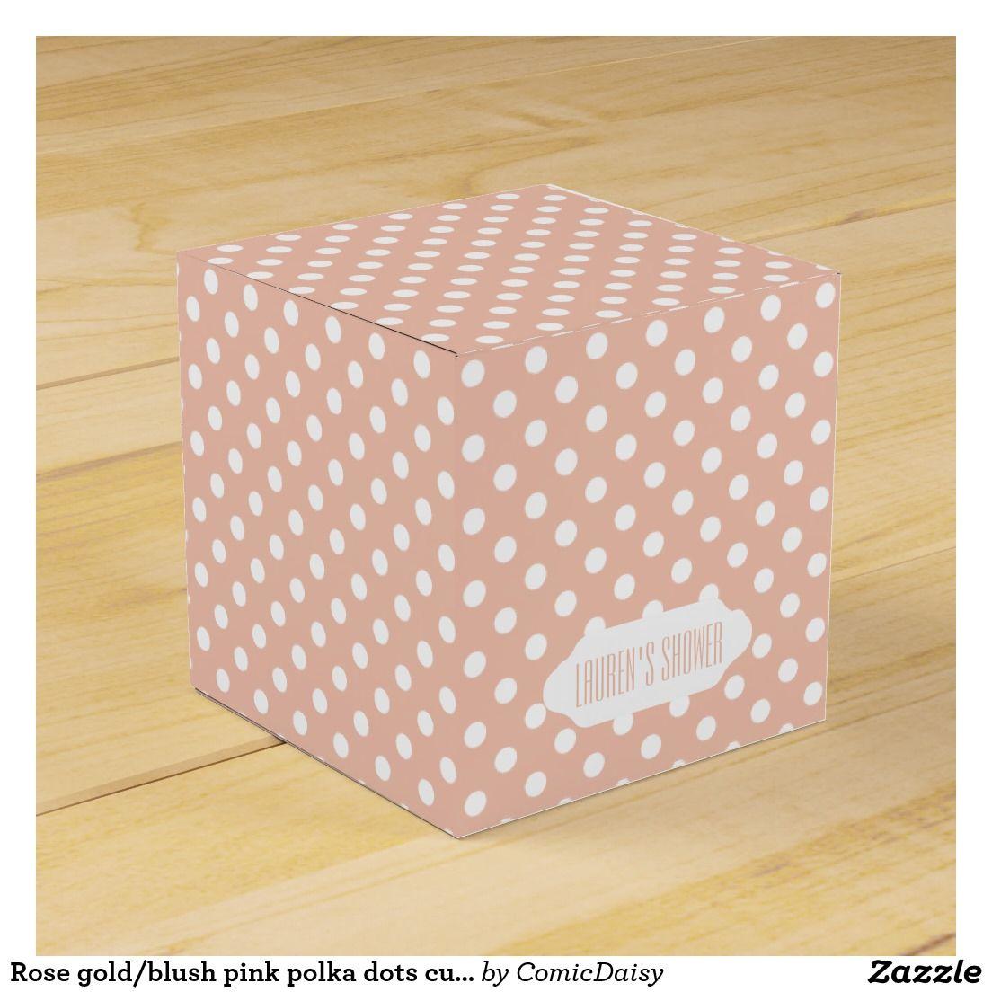 Rose gold/blush pink polka dots custom favor box | Pinterest | Blush ...