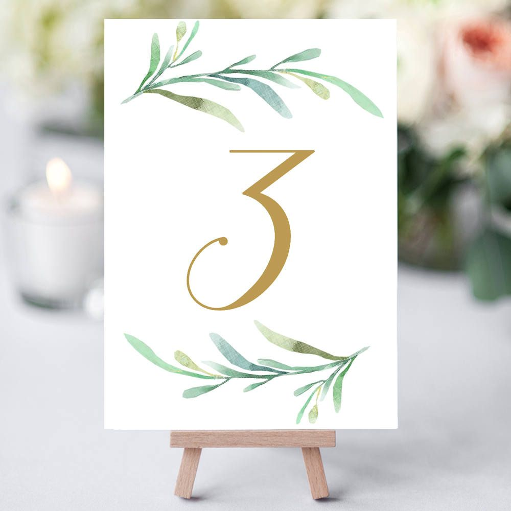 Greenery Wedding Table Numbers Template Printable Reception Number 5x7 Inches And 4x6 Diy Cards Editable Word Templates