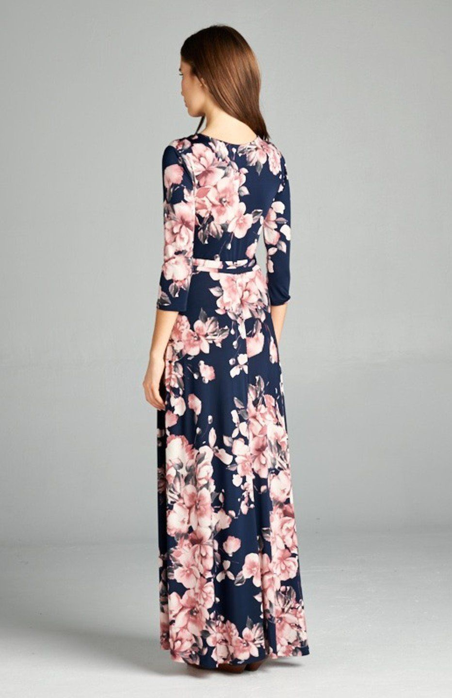 f83f3d85bdb42 Bon Rosy Womens 3 4 Sleeve VNeck Bohemian Printed Maxi Wrap Dress Navy Pink  S     Click image to review more details. (This is an affiliate link)