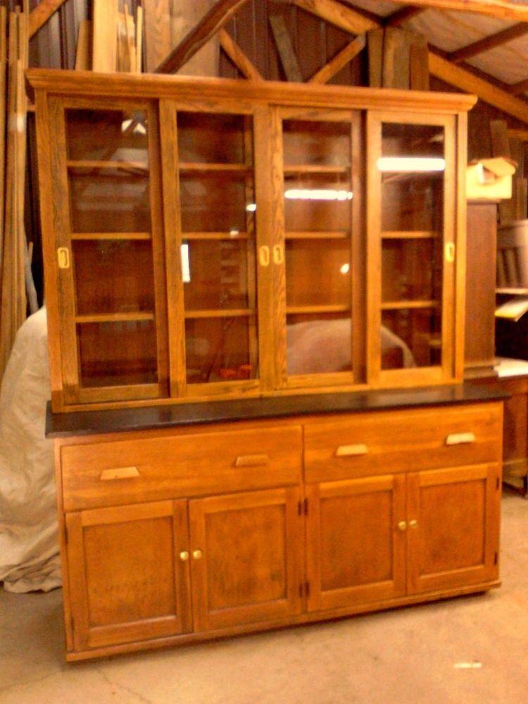 Antique Oak School Lab Cabinet Kitchen China Display Case Circa 1920  #IndustrialOak #WMWelchScientificCo - Antique Oak School Lab Cabinet Kitchen China Display Case Circa 1920
