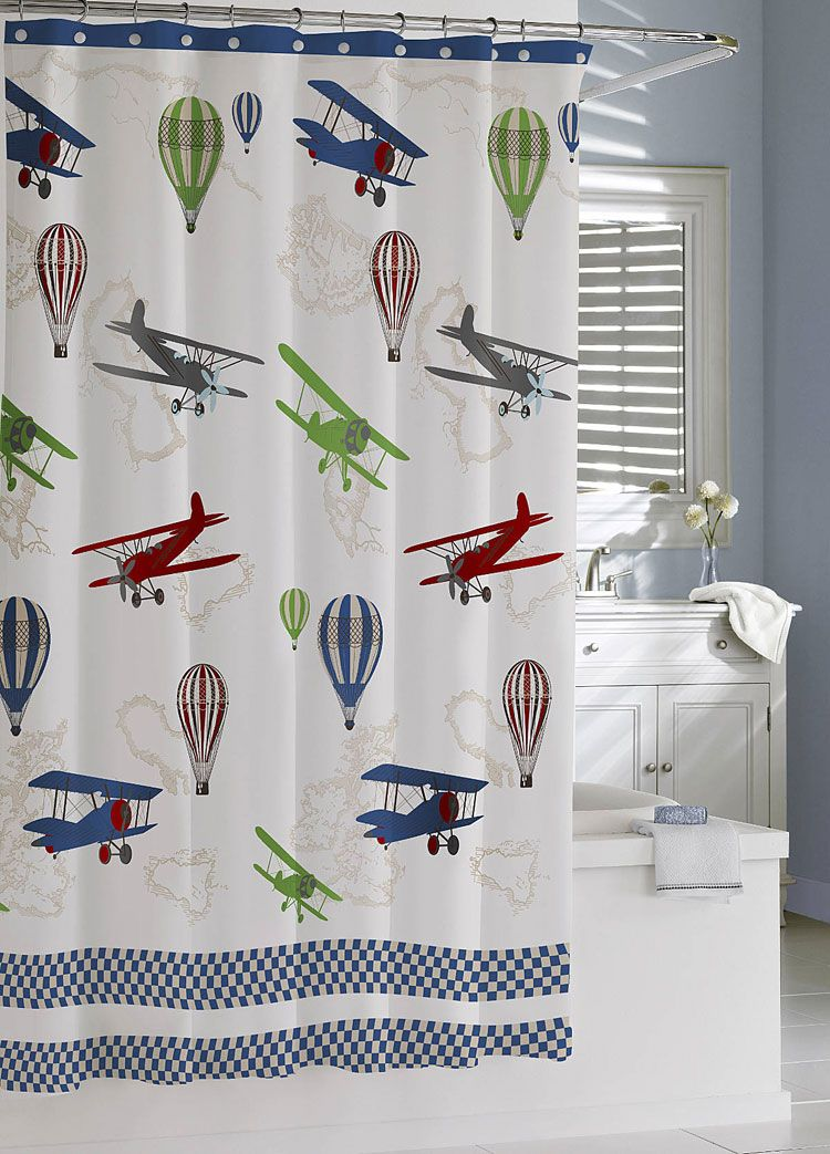 Airplane Shower Curtain Kids Shower Curtain Airplane Decor
