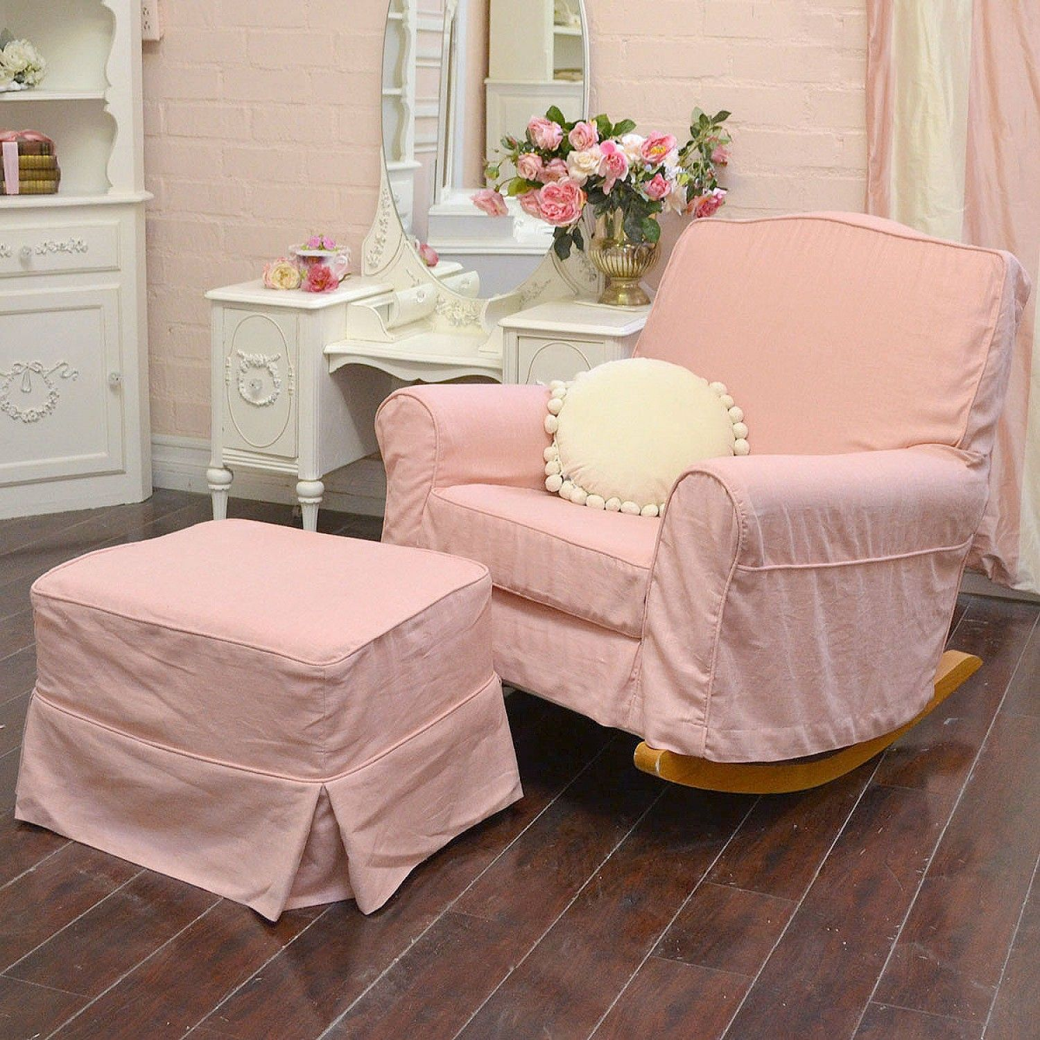 Sweet Chic Pink Linen Rocking Chair with Ottoman $995.00 # ...