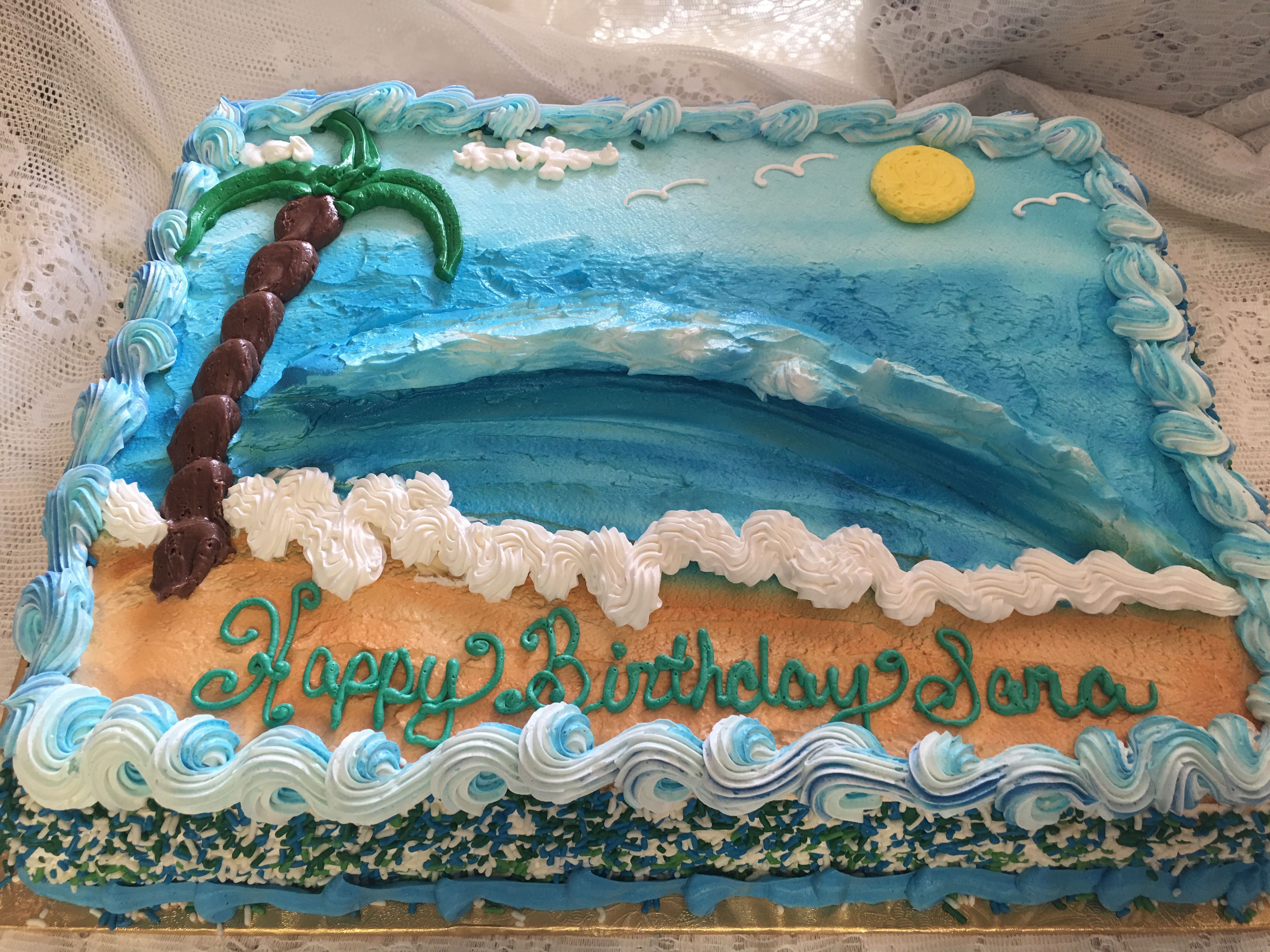 Tropical Beach Scene Cake Mueller S Bakery Beach Themed Cakes