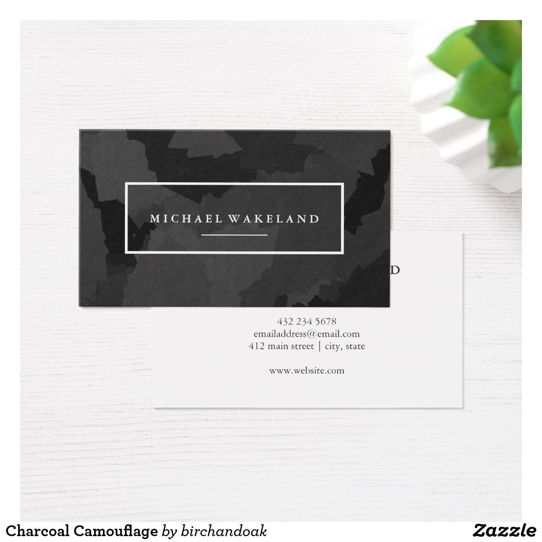 Charcoal Camouflage Business Card -- Modern business card in ...