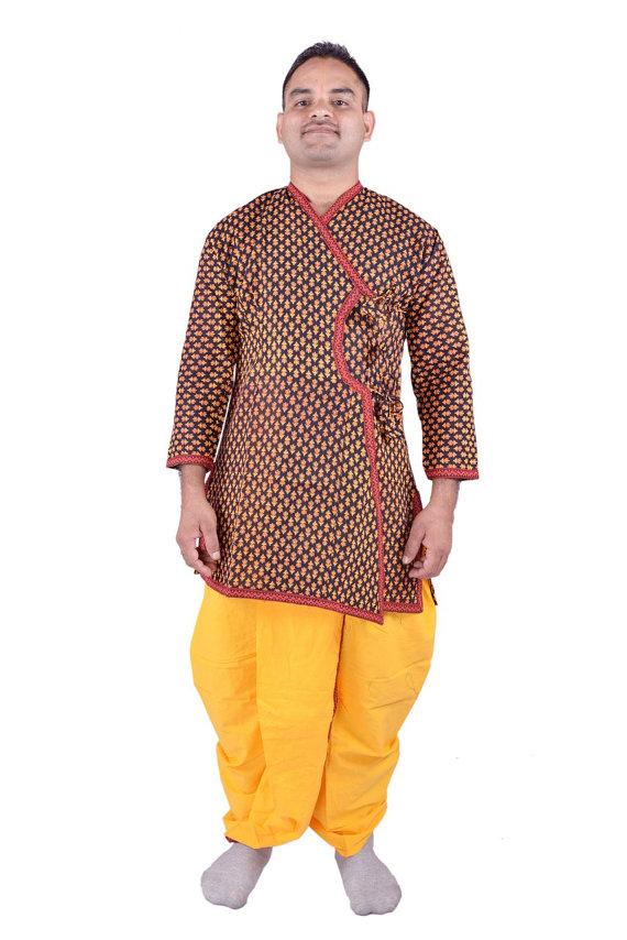 73f10363a Indian Traditional Ethnic Men s Cotton Dhoti Kurta Suits Royal Fashion  Sherwani Angrakha Dress