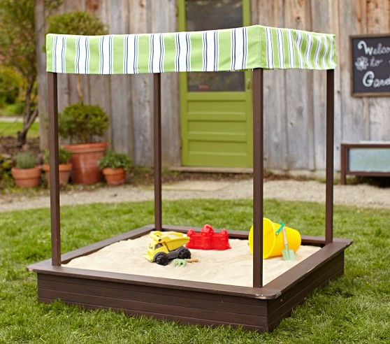 chesapeake sandbox with awning pottery barn kids - Sandbox Design Ideas