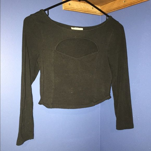 Black quarter sleeve crop top with chest opening Worn once. VERY cute. Quarter sleeve and chest opening. Tops Crop Tops