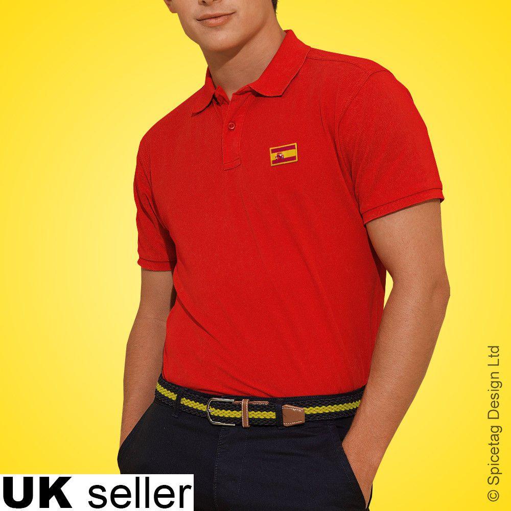 Spain Polo Shirt Football World Cup Tshirt Flag Soccer Top Spanish Kit 2018   1c5b8466a