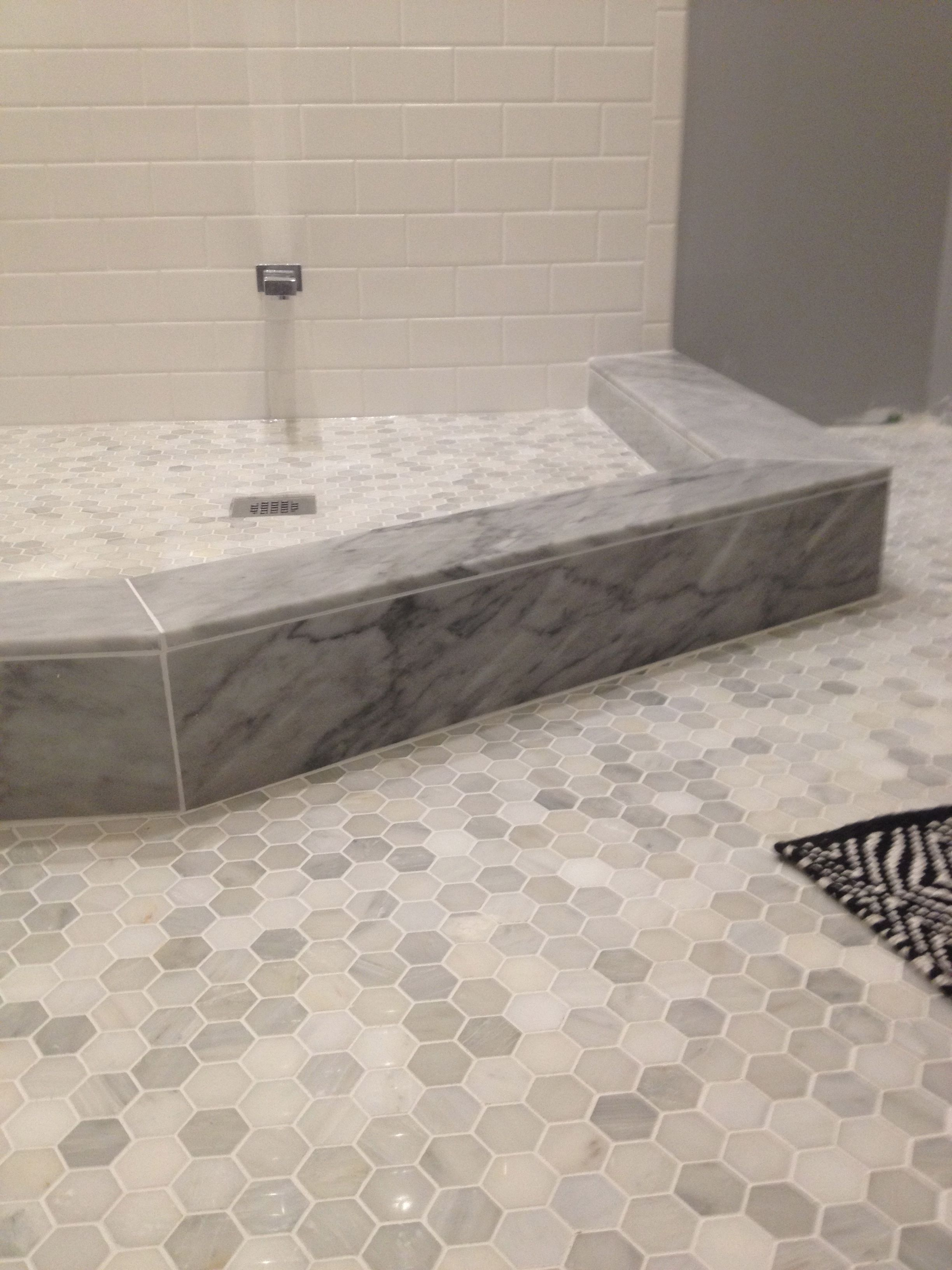 Marble shower sill hexagon floor tiles bathroom showers pinterest hexagon floor tile Marble hex tile bathroom floor