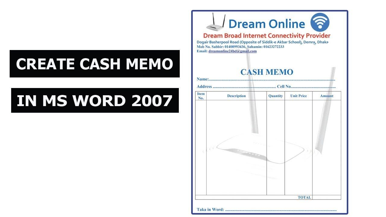 How To Make Cash Memo In Ms Word 2007 2010 2016 Word 2007 Ms Word Words