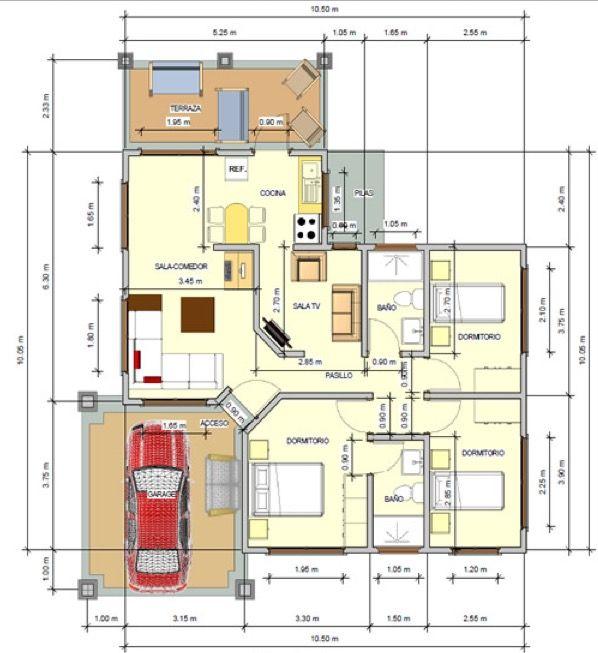 plano de casa de 3 dormitorios 110 m2 planos pinterest