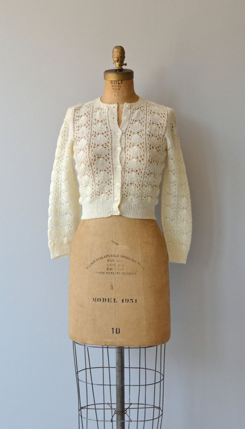 Shell Lace cardigan • vintage 1950s wool sweater • 50s cream lace ...
