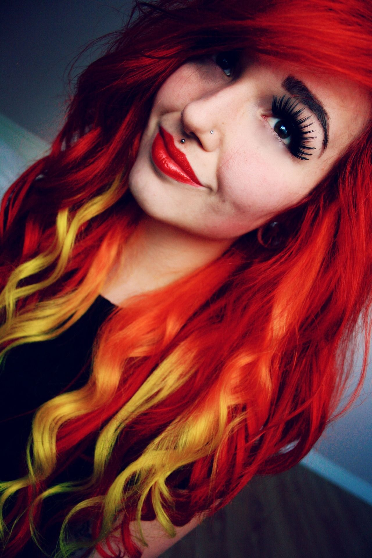 Red and yellow ombre hair | Colorful Hair | Pinterest