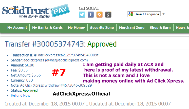 I WORK FROM HOME less than 10 minutes and I manage to cover my LOW SALARY INCOME. If you are a PASSIVE INCOME SEEKER, then AdClickXpress (Ad Click Xpress) is the best ONLINE OPPORTUNITY for you. I am getting paid daily at ACX and here is proof of my latest withdrawal. This is not a scam and I love making money online with Ad Click Xpress.  AdClickXpress.Official  http://www.adclickxpress.is/?r=49ephhxg6qqt&p=aa