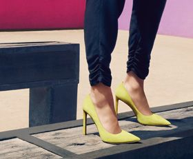 8327f00e493 Yellow Suede Tatiana Pointy Toe Pumps