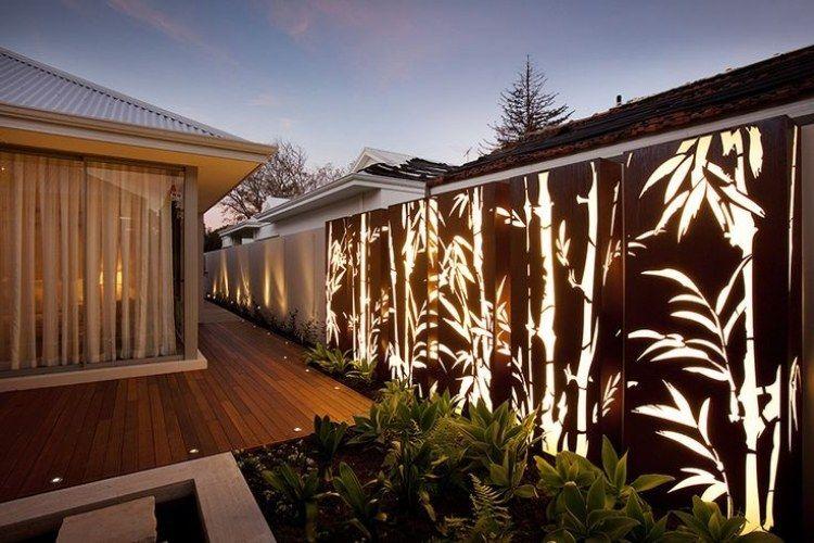 Cortenstahlplatten mit Bambus-Motiv und hinterbeleuchtung Garden - moderne garten mit bambus