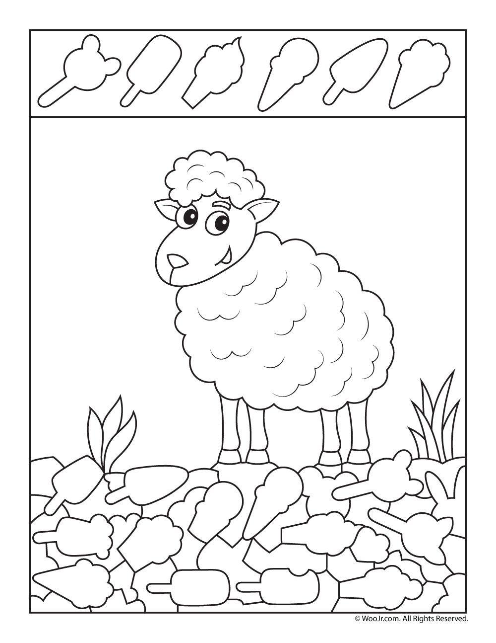 Spring Lamb I Spy Printable Woo Jr Kids Activities Hidden Pictures Visual Perceptual Activities Hidden Picture Puzzles [ 1294 x 1000 Pixel ]