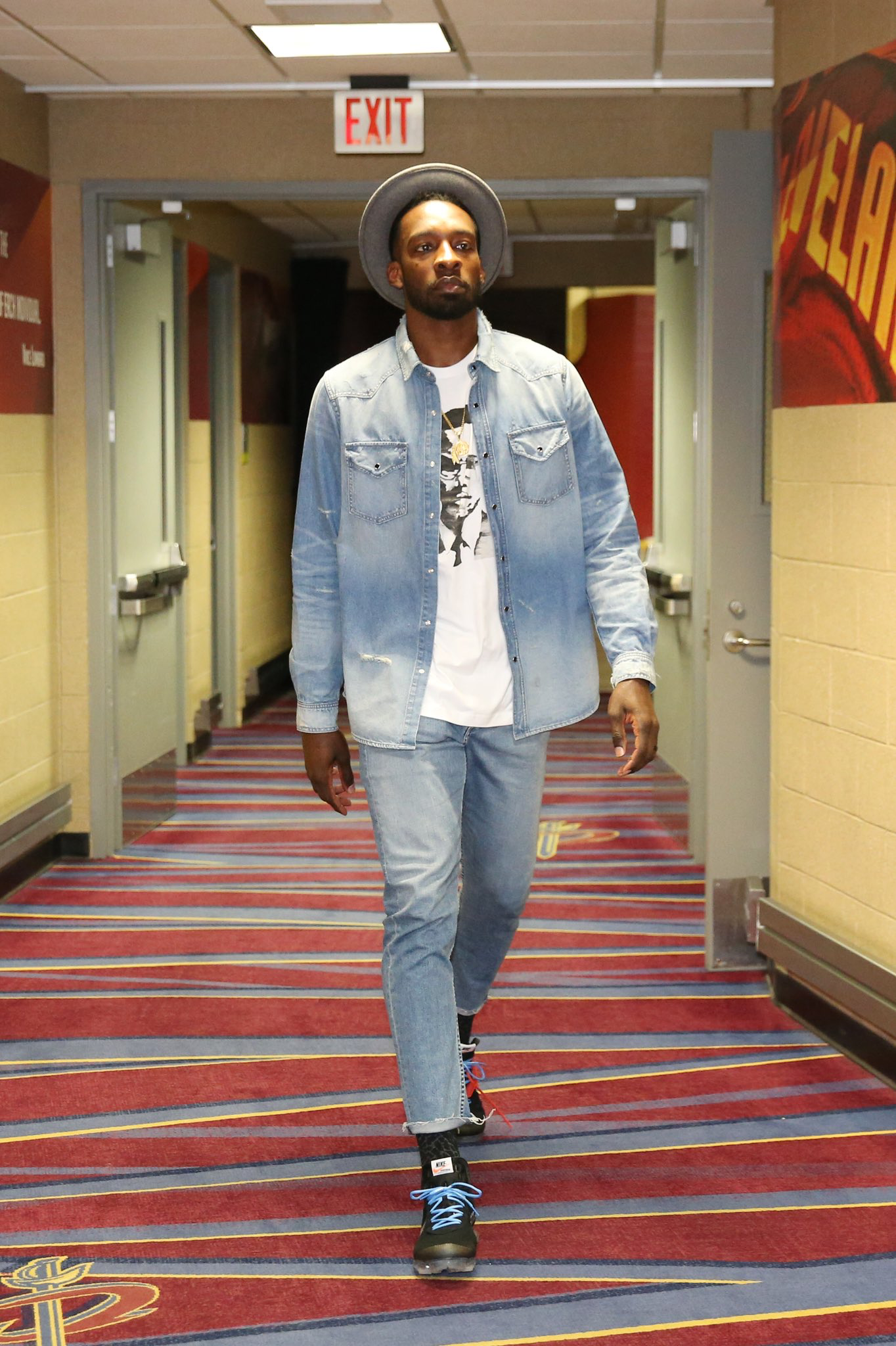 2281d3d588e9 Jeff Green arrives wearing the Off-White Nike Air VaporMax ...