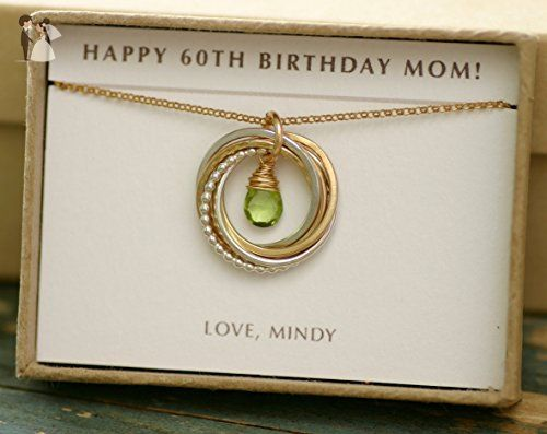 60th Birthday Gift Ideas For Mom India 60th Birthday Gift For Her Peridot Necklace For Mom August Birthstone Jewelry Birt Anniversary Gifts For Wife 80th Birthday Gifts Birthday Gifts For Grandma