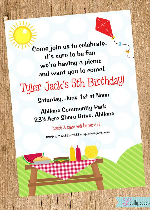 Picnic Printable Invitation Personalized Picnic Birthday Invite