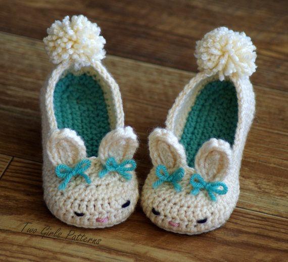 Niño pequeño conejito Zapatillas Tot Lúpulo Toddler Crochet Pattern - Tallas de zapatos para niños 4-9 - TODAS seis tamaños Incluido - Número de patrón 214