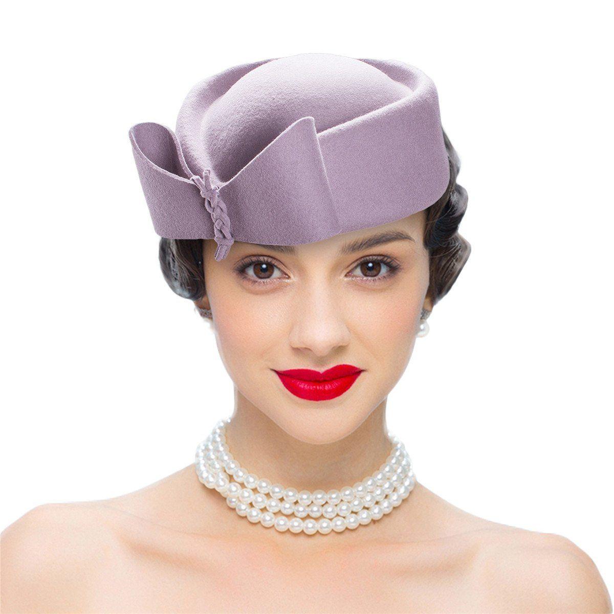 Lawliet Ladies Teardrop Fancy Wool Fascinator Cocktail Pillbox Hat Formal Racing A253