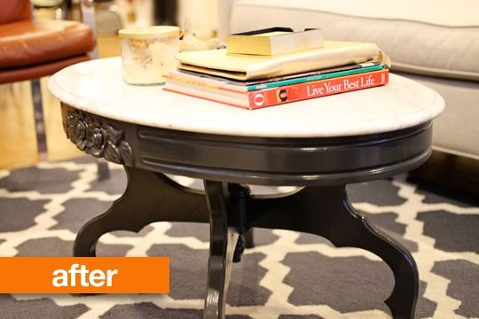 Before After 60 Marble Top Coffee Table Makeover Marble Top
