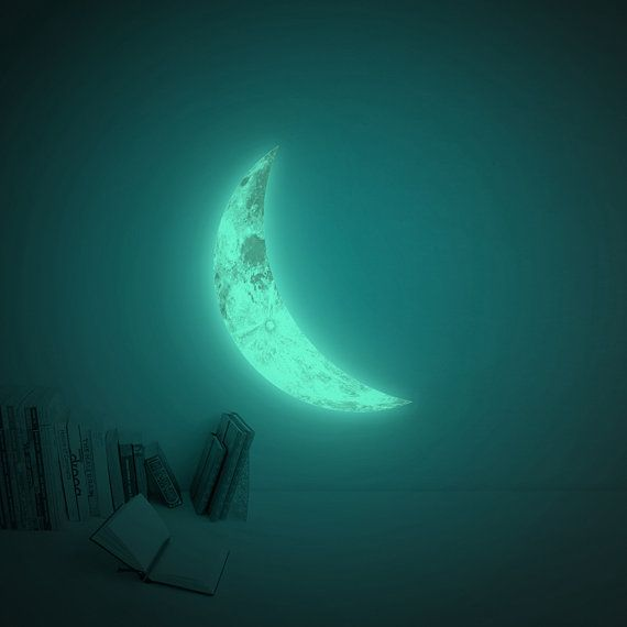 Glow in the dark crescent moon wall-sticker by i3Lab on ...