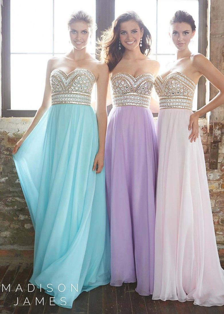 Madison James 15-116 Water Blue, Ivory, and Lilac Purple Strapless ...