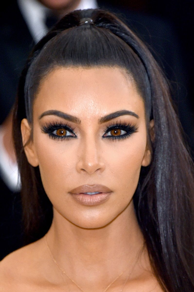 Kim Kardashian Beauty Face Black Smokey Eye Hair Beauty