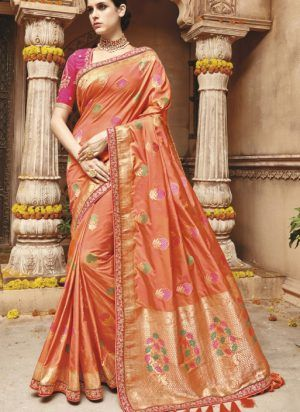 58409bde71dc0 Designer Royal Look Light Orange Color Silk Saree