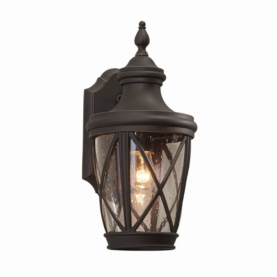 Shop allen roth castine 1441 in h rubbed bronze outdoor wall shop allen roth castine 1441 in h rubbed bronze outdoor wall light at lowes mozeypictures Choice Image