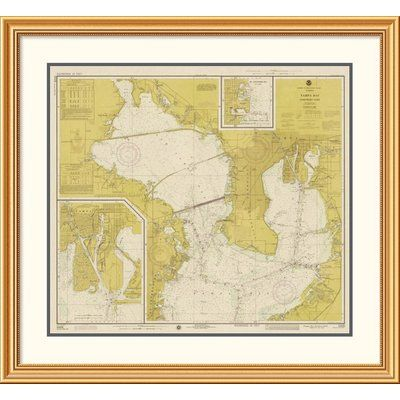 East Urban Home 'Nautical Chart - Tampa Bay - Northern Part ca. 1975 - Sepia Tinted' Framed Print Size: