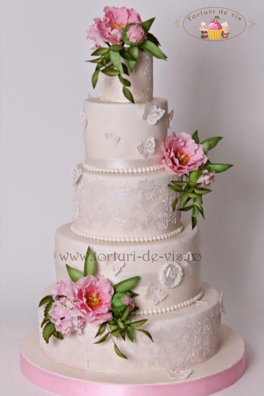 Tort Nunta Dantela Si Bujori Roz My Own Wedding Cakes Peony Cake