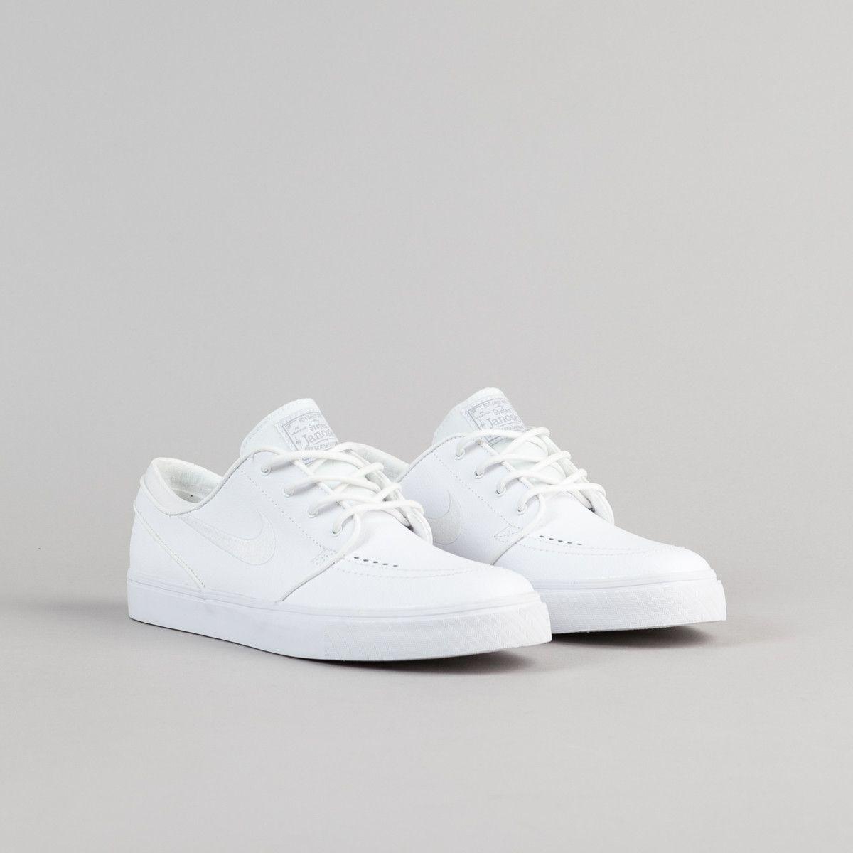 low priced 1b352 86125 Nike SB Stefan Janoski Leather Shoes - White   White - Wolf Grey