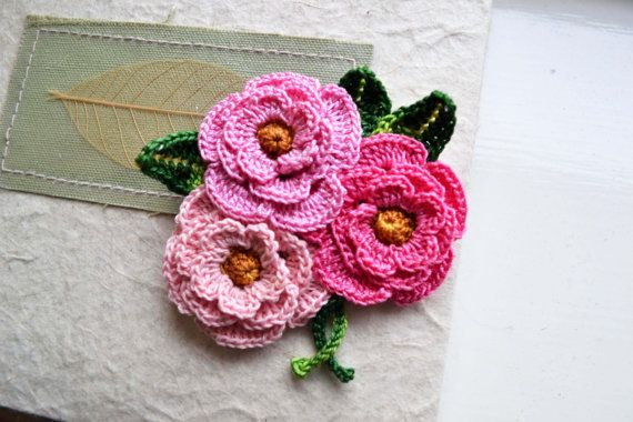 Crochet Flower Brooch Pin Pink Cotton Floral Freeform Flower