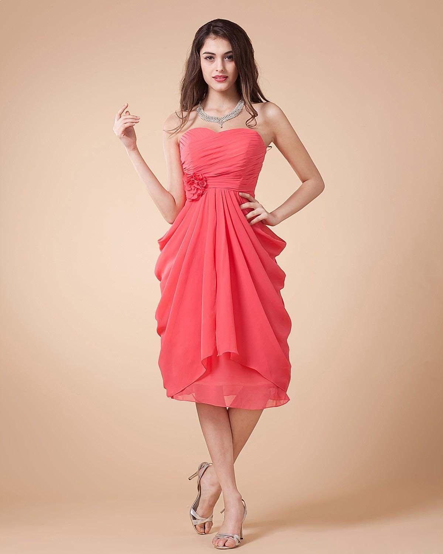 pink chiffon dress knee length