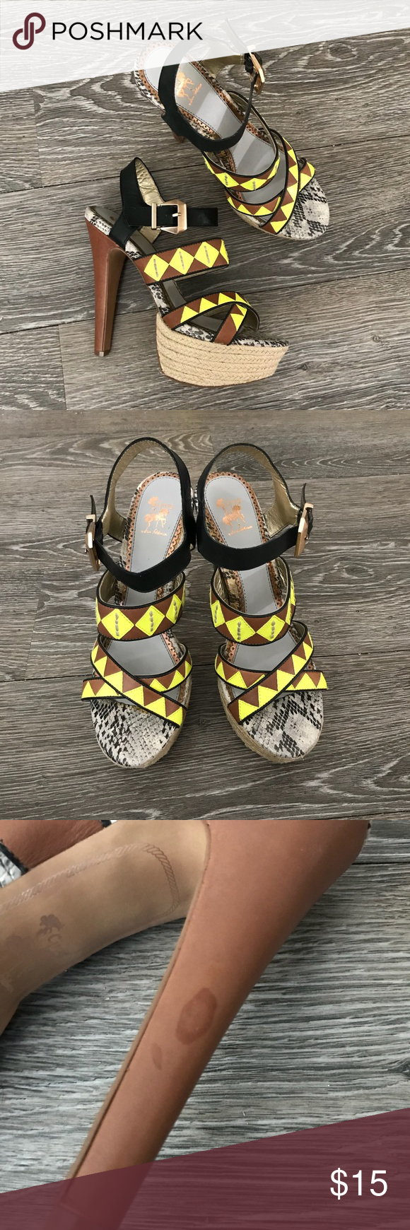 466a994c478f1e Circus by Sam Edelman Dawson Strappy Platform Circus by Sam Edelman Dawson  • Sz 8.5 • Multicolor with neon yellow detail • Snake skin pattern sole.