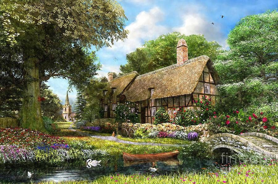 фотообои деревенский пейзаж бабуля
