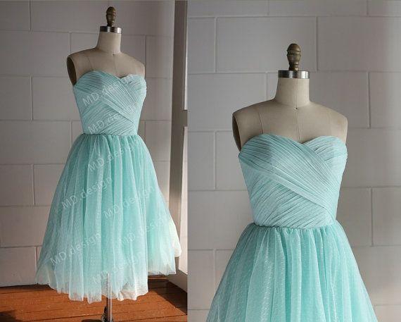 Minze blau / dunkelblau Polka Dots Tüll Kleid Brautjungfer Kleid ...