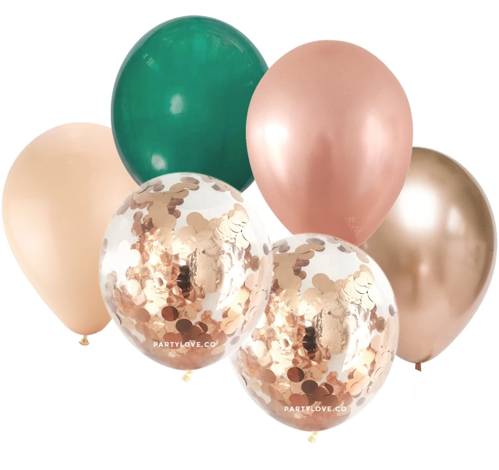 10 Solid Coloured Balloons And 2 Clear 30cm Balloons Pre Filled With Confetti Balloons Can Be Fill Gold Confetti Balloons Confetti Balloons Rose Gold Confetti
