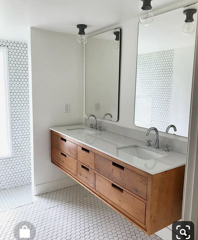 Photo of Home Decorators Collection Vinespring 48 in.Wx22 in.D Single Wall Hung Bath Vanity in Wood Tone with Marble Vanity Top in White with White Sink MD-V002-48 – The Home Depot