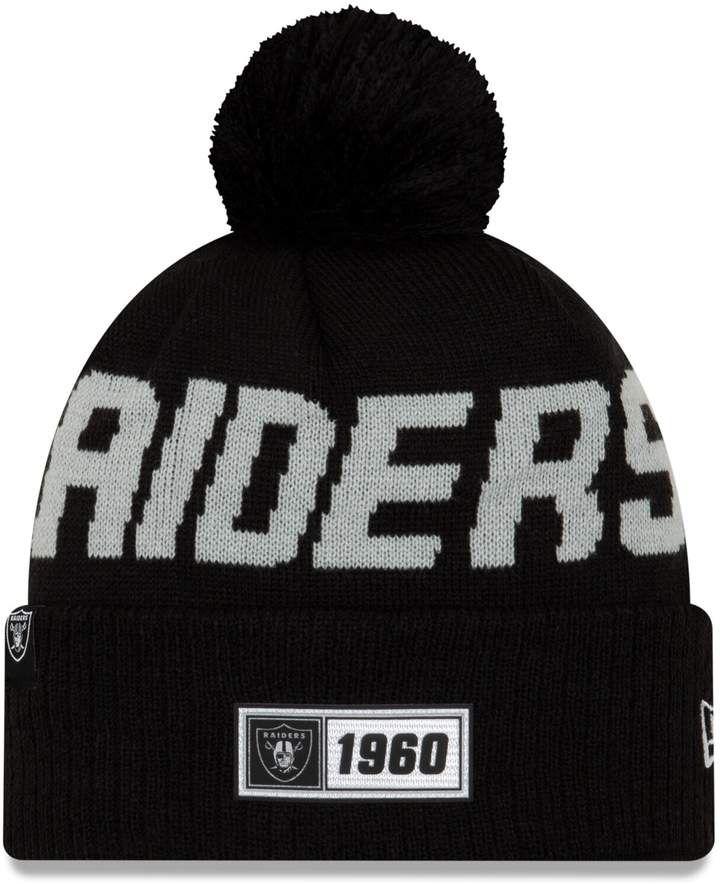 New Era Oakland Raiders Sport Knit On Field Sideline Cuff Fleece Beanie Hat Cap