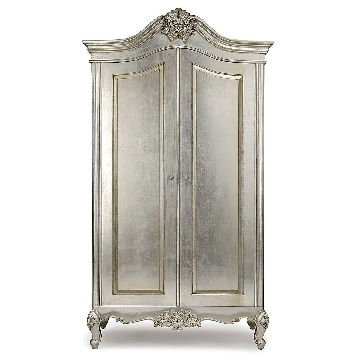 Cristal french silver leaf 2 door wardrobe silver french for Furniture in french
