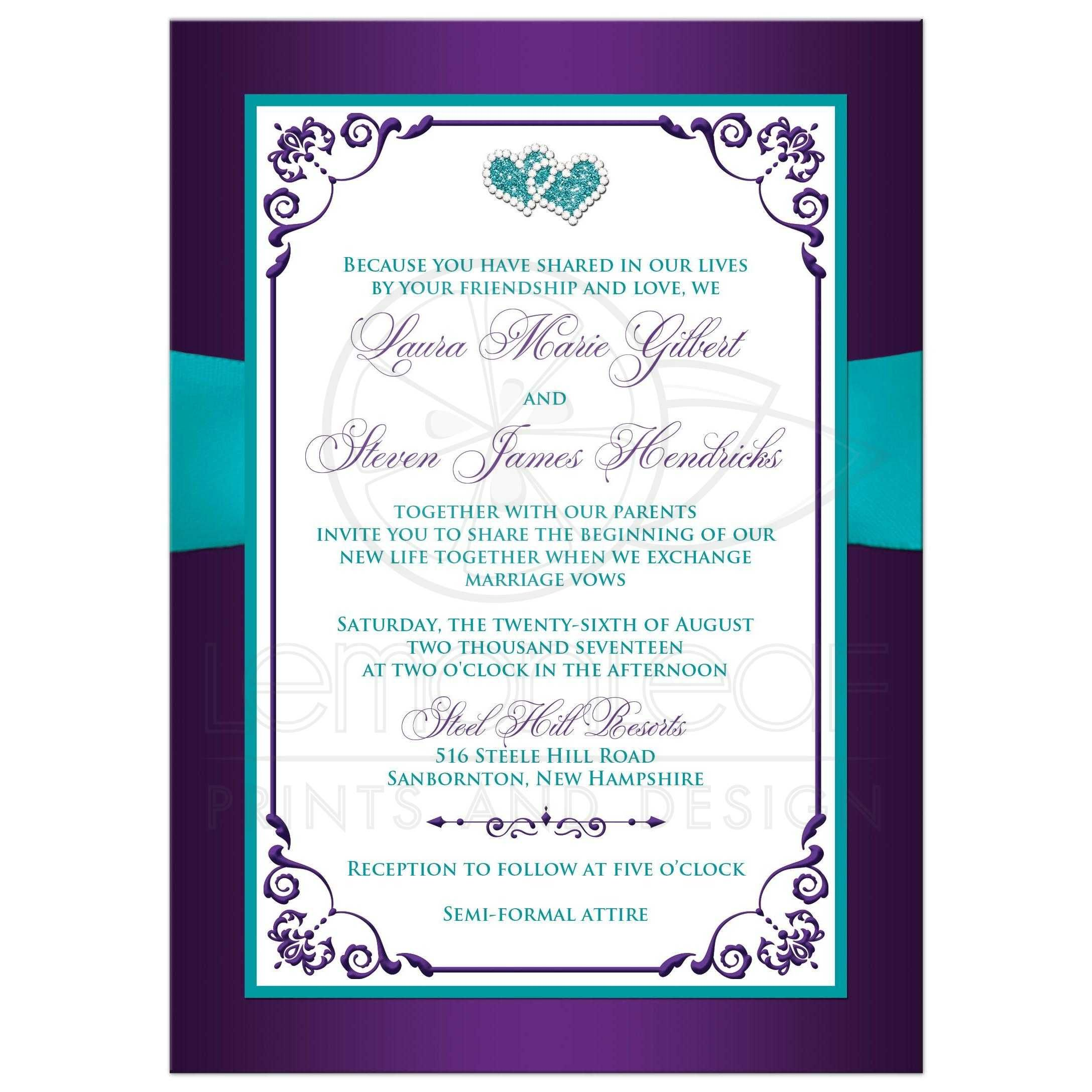 Wedding Invitation Purple Aqua