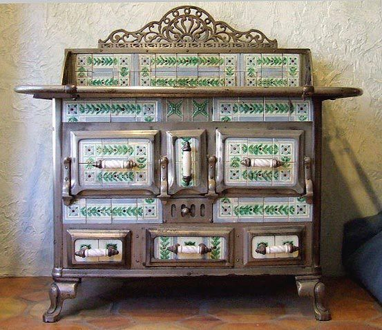 ANTIQUE FRENCH TILE STOVE WITH EMBOSSED BELGIAN TILES  c. 1900