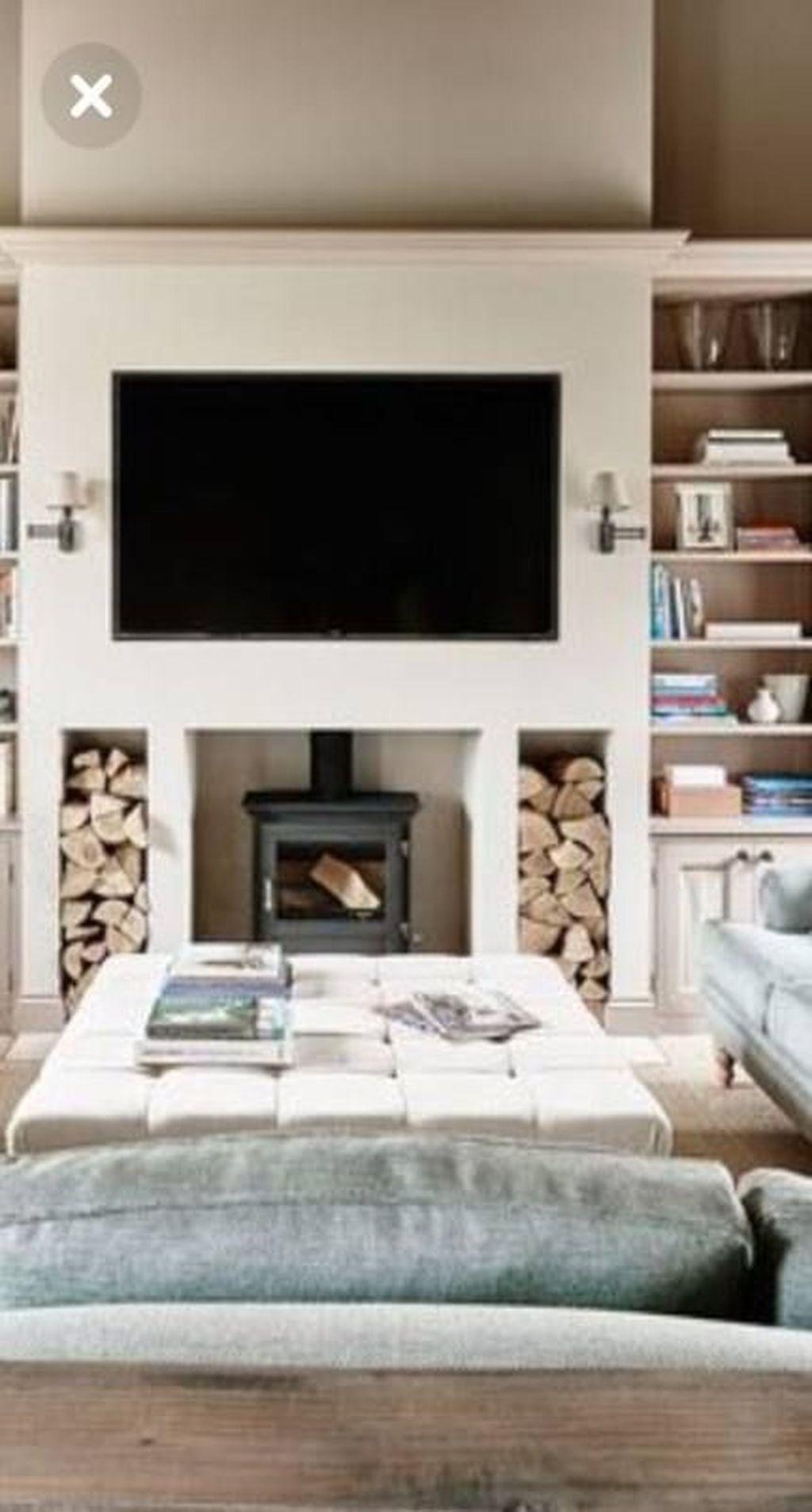 33 Stunning Modern Fireplace Design Ideas With Tv Above Log