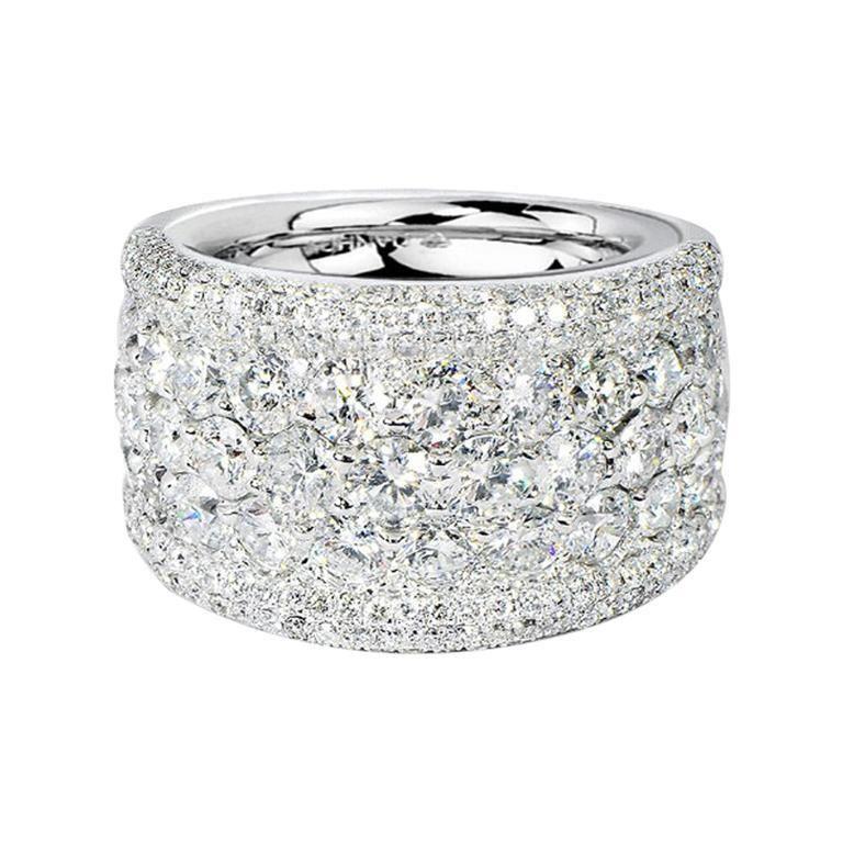 Wide Diamond Anniversary Wedding Band White Round Brilliant Diamonds In 14kt White Gold Thick Diamond Wedding Band Wedding Ring Diamond Band Pave Diamond Band