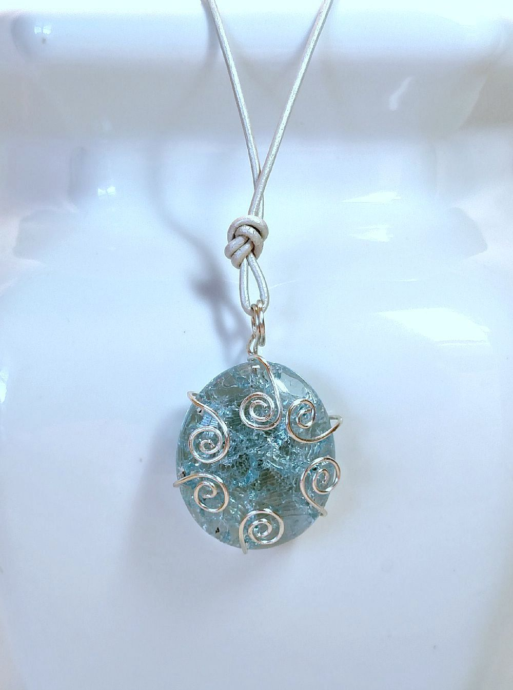 Necklace Pendant with Aqua Shattered Glass, Hand Wrapped Wire and ...